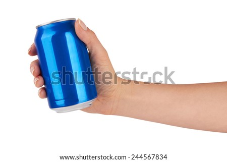 blank blank soda can isolated on a white background  - stock photo