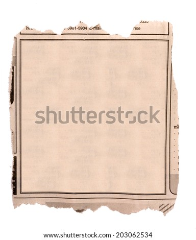Blank block of old newspaper advertise - stock photo