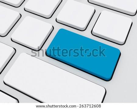 blank blu color key on keyboard, technology concept - stock photo