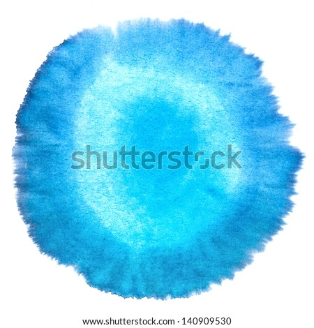 Blank Blue Abstract Smudged Watercolor Macro  circularity Texture Background. Freehand Circle Drawing with Space for Your Image or Text. - stock photo