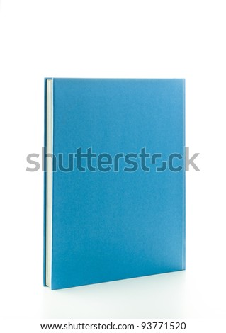 Blank blue book in upright position isolated on white