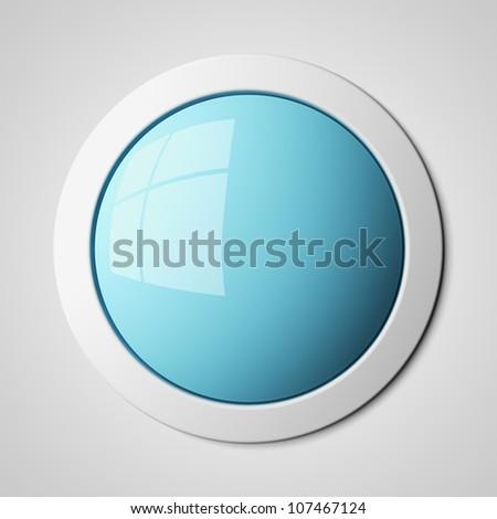 Blank blue button 3d render - stock photo