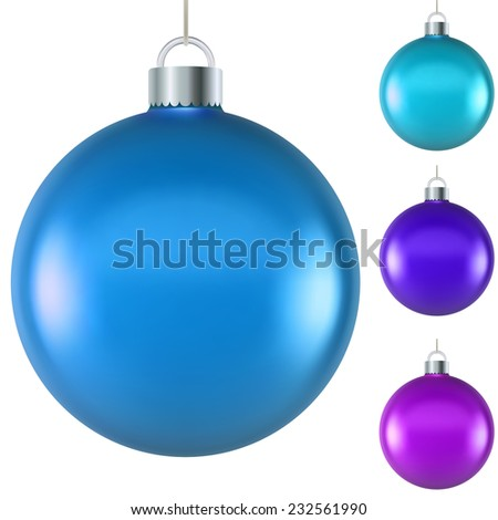 Blank blue Christmas ball isolated on white background. - stock photo
