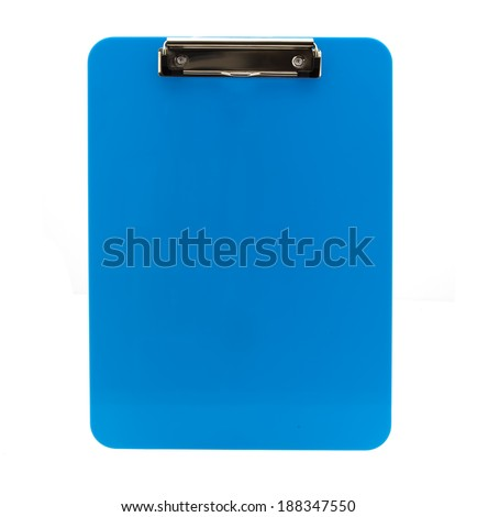 Blank Blue Clipboard on a white background - stock photo
