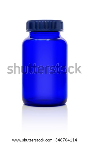Blank blue glass bottle of supplement product isolated on white background with clipping path - stock photo
