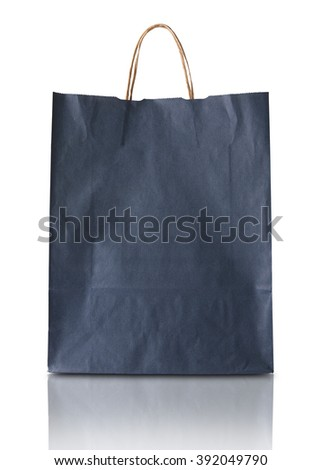 Blank blue paper bag isolated on white background - stock photo
