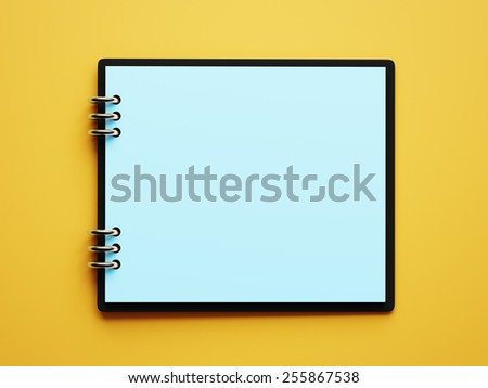 Blank Blue Paper Notepad isolated on yellow background - stock photo