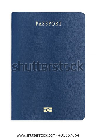 Blank blue passport background on white background with clipping path. - stock photo