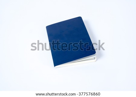 Blank blue passport on white background - stock photo