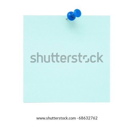 Blank blue post it note with pushpin - stock photo