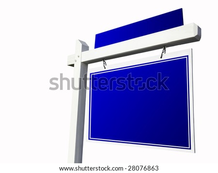 Blank Blue Real Estate Sign Isolated on White Background.