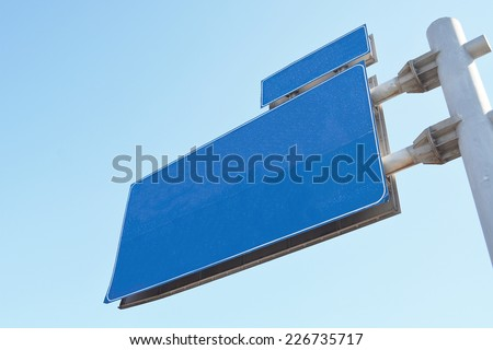 Blank Blue Road Sign,Large White Frame,bottom view