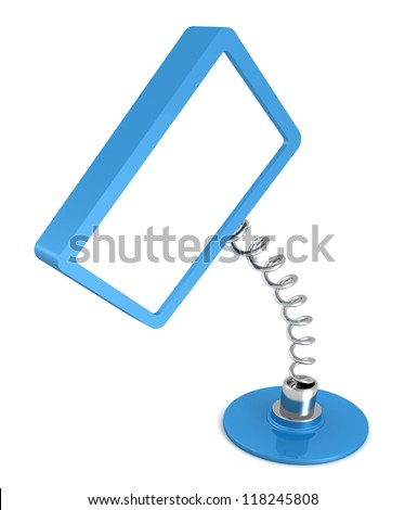 blank blue table spring banner on white background - stock photo