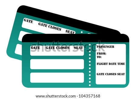 Blank boarding card passes isolated on white background.