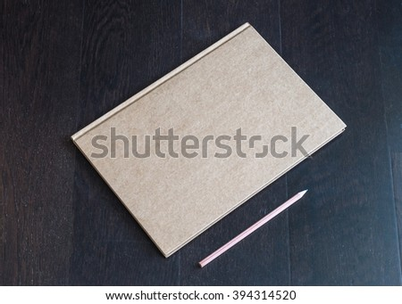 Blank book catalog magazines brochure note cover template w/ recycle brown color paper texture pencil wood table/ wooden floor background: Eco friendly empty note book page on timber backdrop for text - stock photo