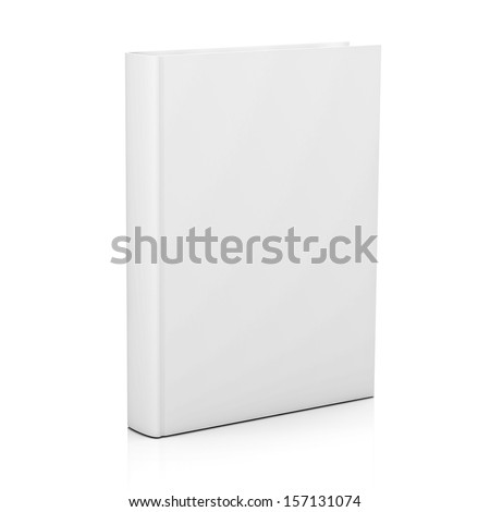 Blank book cover isolated over white background with reflection - stock photo