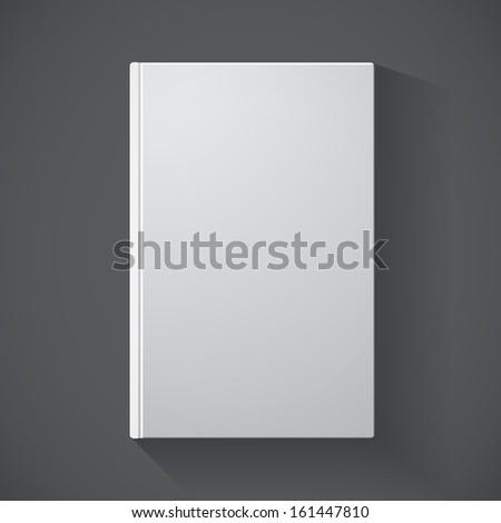 Blank book cover on grey background for your design (raster illustration) - stock photo