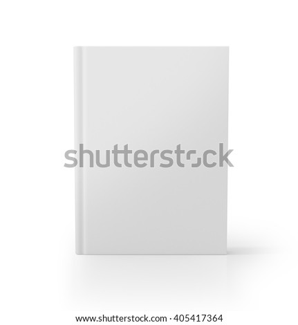 Blank book cover over white background. 3D rendering