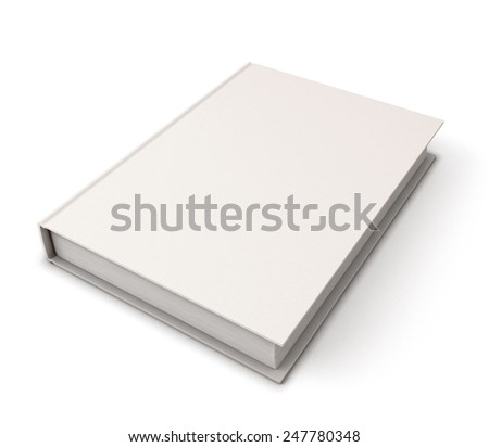 Blank book cover template on white background with soft shadows. Perspective view. 3d render image.