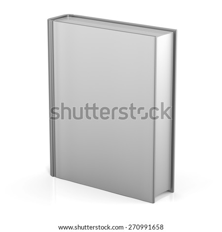 Blank book empty cover template single brochure document textbook cookbook workbook notebook knowledge media content information. 3d render isolated on white background - stock photo