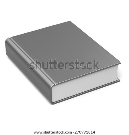 Blank book empty template single brochure hard cover textbook cookbook workbook notebook knowledge content information. 3d render isolated on white background