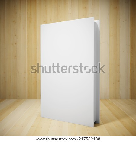 Blank book in wooden showcase - stock photo
