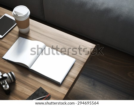 Blank book on the wooden table. 3d rendering - stock photo