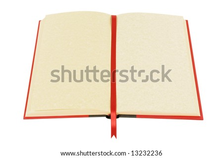 Blank book open with yellow parchment pages and red ribbon bookmark isolated on white background.  Space for copy. - stock photo