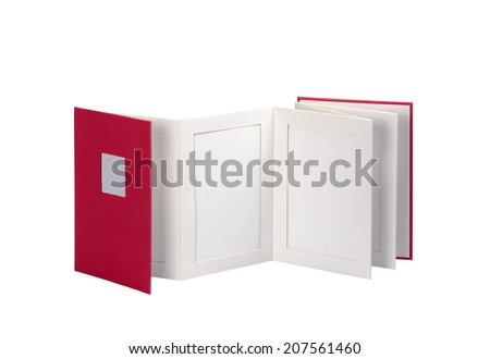 Blank book, photo album against a white background. Clipping path and path for each frame - stock photo