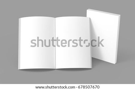 Blank book template, mockup for design uses in 3d rendering, one standing open book with closed one
