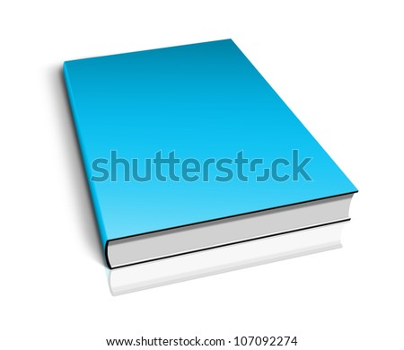 Blank book with blue cover on white background.