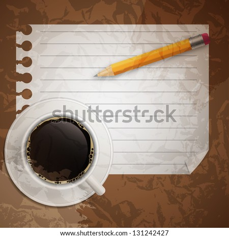 Blank book with coffee and photo frame  illustration on business theme