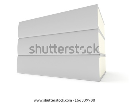 Blank books cover over white background. 3D render. Studing illustration. Back to school.