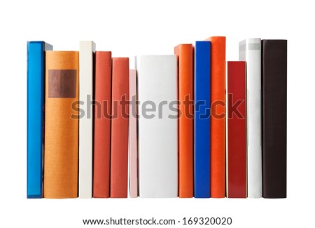 Blank books isolated on white (clipping path) - stock photo