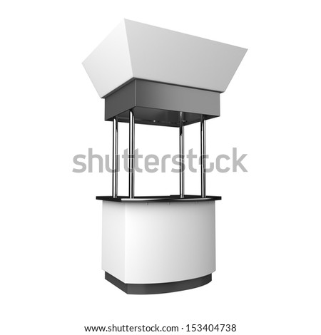 blank booth or kiosk from an angle isolated on white background. 3d render - stock photo