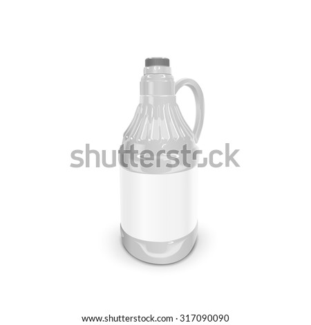 blank bottle with label isolated on white background