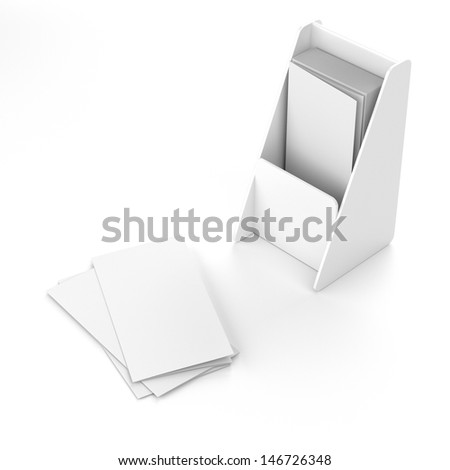Blank box holder for leaflets or fliers. Render Isolated on white
