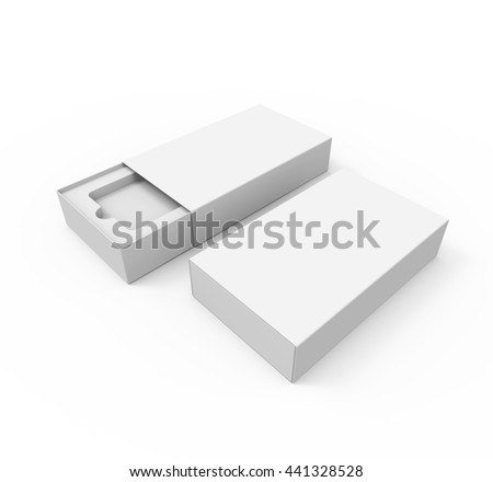 Blank box package for mobile phone, or other things, isolated on white background, Mockup. 3D illustration