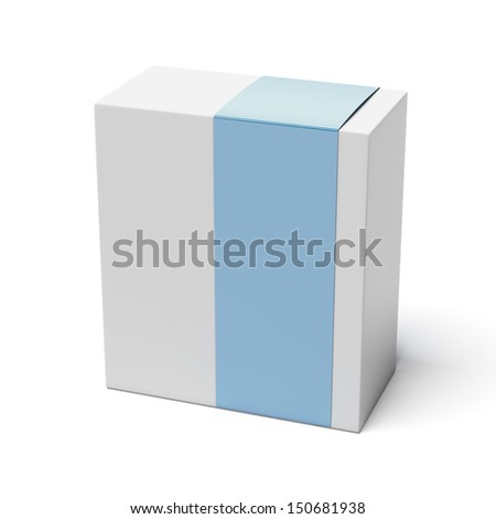 Blank box with blue cover - stock photo