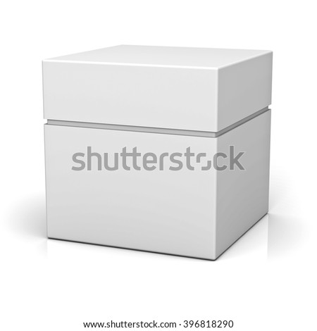 Blank box with lid isolated on white background with reflection - stock photo