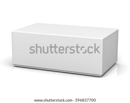 Blank box with lid isolated on white background with reflection