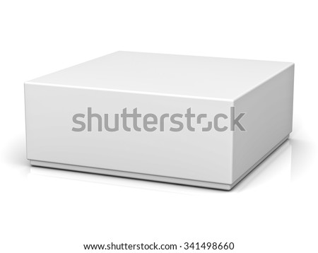 Blank box with lid on white background with reflection