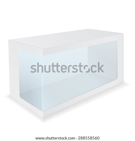 Blank Box with Transparent Window. isolated on white background. Raster version