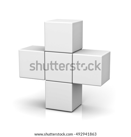 Blank boxes forming plus sign concept isolated on white background with reflection. 3D rendering.