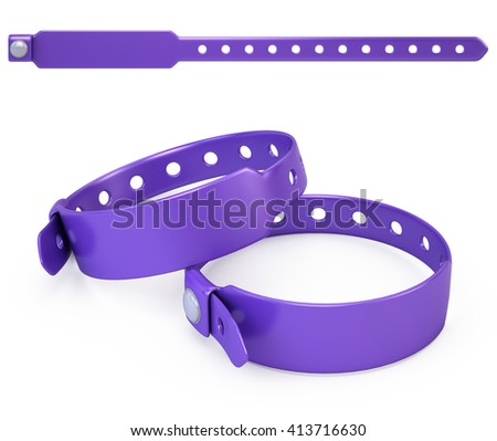 blank bracelet isolated on white - 3d render - stock photo