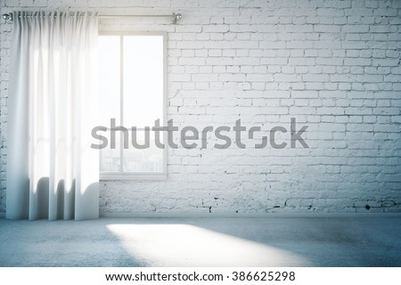 Blank brick wall in white loft design room with window, curtain and concrete floor. Mock up, 3D Render - stock photo