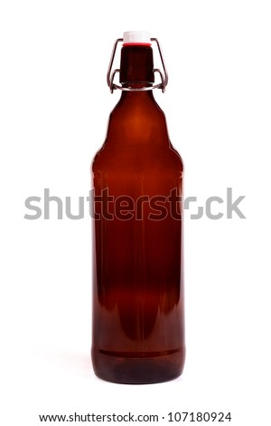 blank brown beer bottle isolated on white background