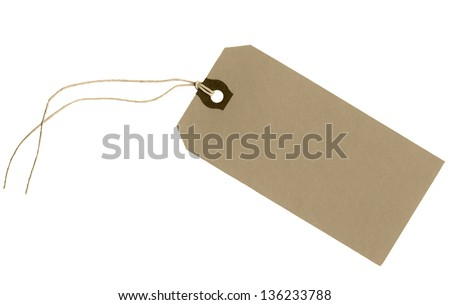 blank brown cardboard tag with string. Isolated on white background. High resolution scan.