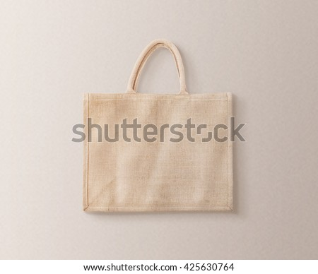 Blank brown cotton eco bag design mockup isolated, clipping path. Textile cloth customer pack mock up template. Tote shoe consumer reusable organic craft package. Carrier recycle textured grossery bag