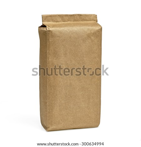 Blank brown craft paper bag isolated on white background including clipping path   - stock photo